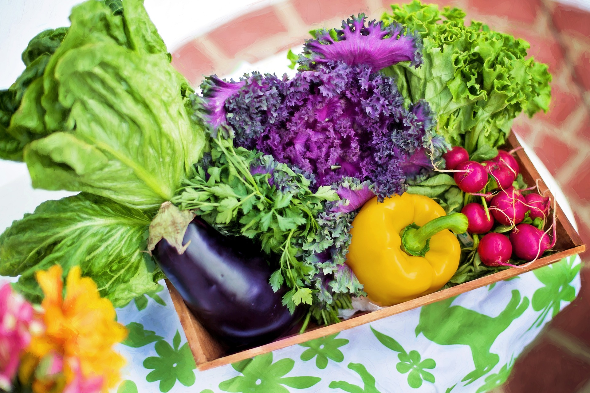Many vegetables in the basket